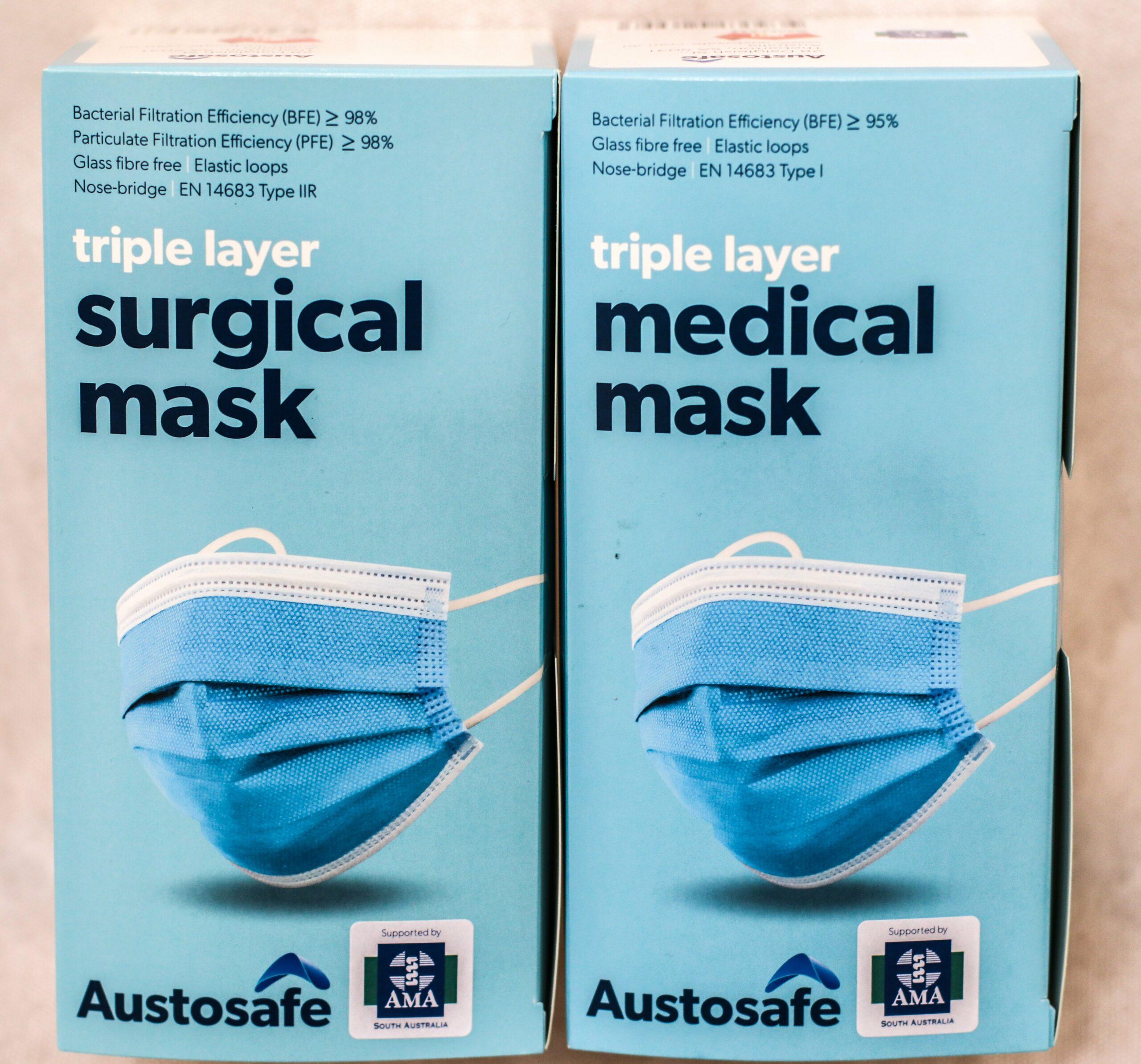 Austosafe Level 2 Surgical Masks - 1 Carton